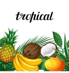 Seamless border with tropical fruits and leaves vector