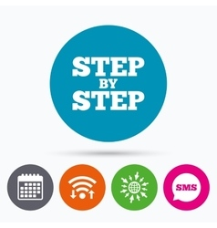 Step by step sign icon instructions symbol vector