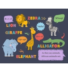 Animal soundsAfrican animals set vector image