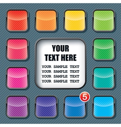apps icons set and text frame template vector image vector image
