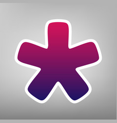 Asterisk star sign purple gradient icon vector