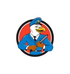 Bald eagle policeman baton circle cartoon vector