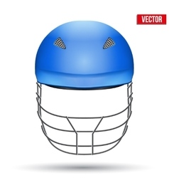 Blue Cricket Helmet Front View vector image vector image