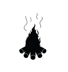 Camp fire in black color on white vector