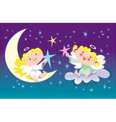 cartoon Christmas angels vector image