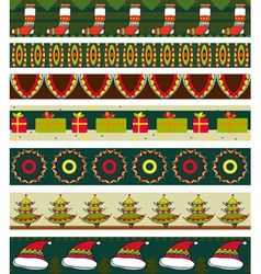 Christmas Strip Pattern Set vector image vector image