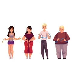 Fit fat men and women measuring themselves with a vector image