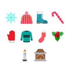 flat color winter season icon set vector image vector image