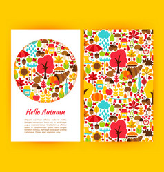 Hello autumn flyer template vector