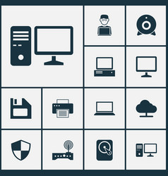 Laptop icons set collection of defense printing vector