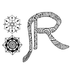 letter R decorated in the style of mehndi vector image vector image