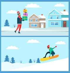 man with gifts and snowboarder vector image vector image