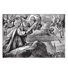 Moses receives the ten commandments on two vector