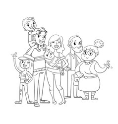 My big family posing together coloring book vector