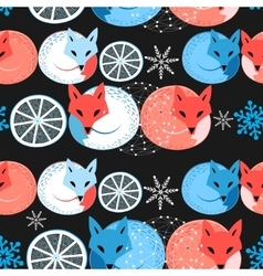 Pattern funny fox vector image vector image