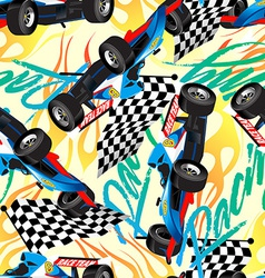 Racing with checkered flag seamless pattern vector