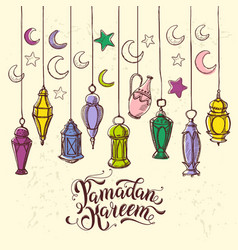 Ramadan kareem with lantern in hand vector
