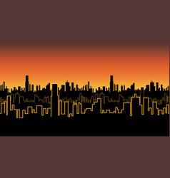 Seamless band of the city at sunrise or sunset vector