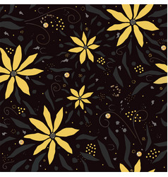 seamless floral pattern with hand drawn yellow vector image