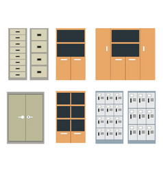 set of office cabinet and locker in flat style vector image