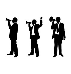 Set of people with megaphones vector