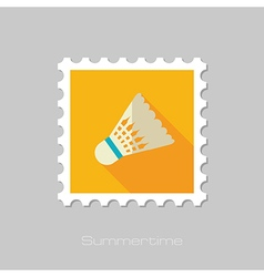 Shuttlecock badminton sport flat stamp vacation vector