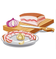 Sliced pork lard vector