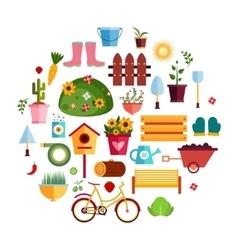 Spring Garden White flat icons Design vector image