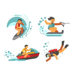 summer water healthy activities poster on vector image