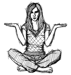 woman lotus pose vector image vector image
