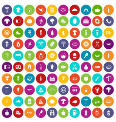 100 barbecue icons set color vector image