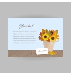 Autumn bouquet with card in cup vector