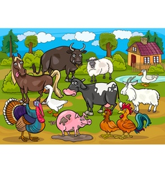 farm animals country scene cartoon vector image