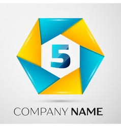 Number five logo symbol in the colorful circle on vector