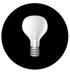 Realistic light bulb on black vector