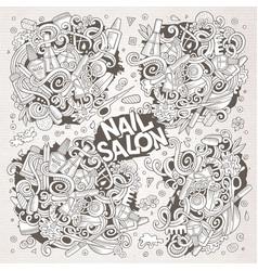 Cartoon doodle set of nail salon designs vector