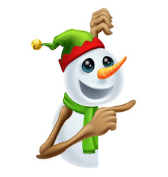 Christmas snowman pointing vector