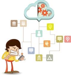 Business man using a smart phone on a cloud vector