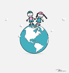 Cute children on globe vector