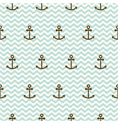 Seamless sea pattern of anchors and waves vector
