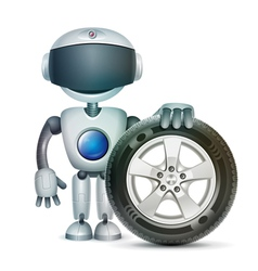 The robot with a car wheel vector image