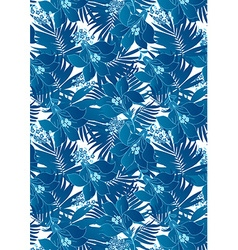 Blue hibiscus flowers in repeat pattern vector