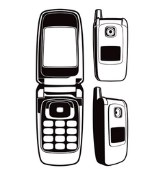 black and white cellular phone set vector image