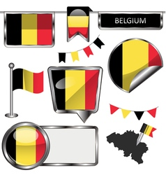 Glossy icons with belgian flag vector
