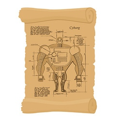 Old scheme of cyborg ancient scroll of human vector