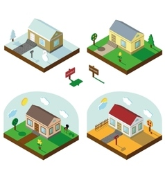 Isometric house set3D VillageSeasonal Landscapes vector image