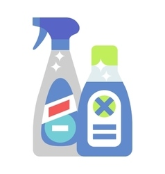 Cleaning product detergent plastic bottles and vector