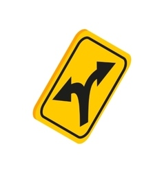 Fork in the road sign icon isometric 3d style vector image