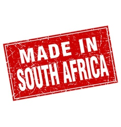 South africa red square grunge made in stamp vector