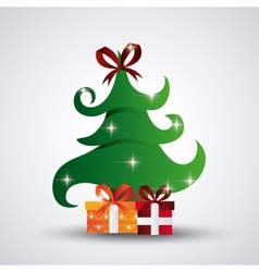 Pine tree and gifts design merry christmas vector